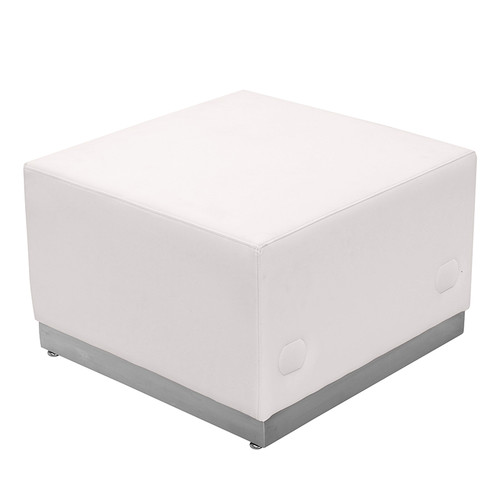 HERCULES Alon Series Melrose White LeatherSoft Ottoman w/Brushed Stainless Steel Base