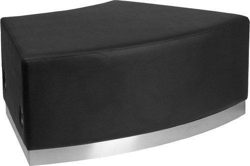 HERCULES Alon Series Black LeatherSoft Backless Convex Chair w/Brushed Stainless Steel Base
