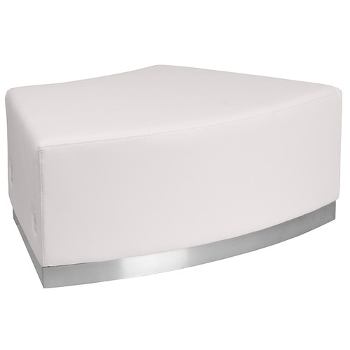 HERCULES Alon Series Melrose White LeatherSoft Backless Convex Chair w/Brushed Stainless Steel Base