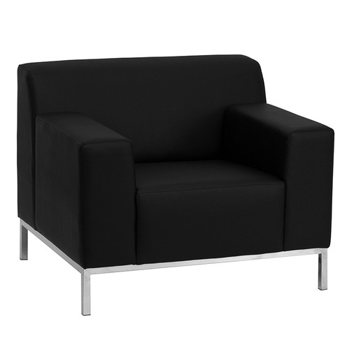 HERCULES Definity Series Contemporary Black LeatherSoft Chair w/Stainless Steel Frame