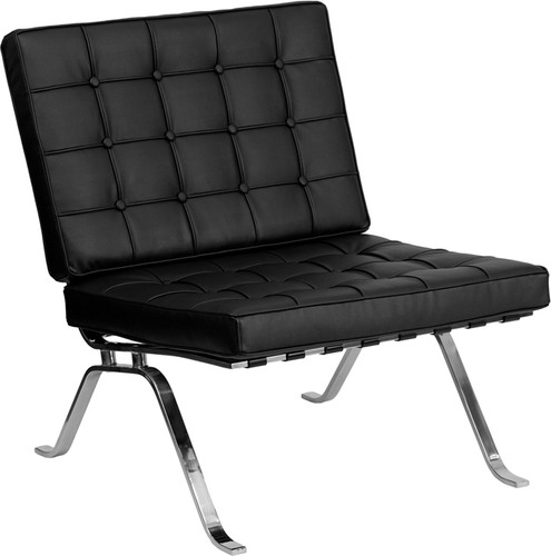 HERCULES Flash Series Black LeatherSoft Lounge Chair w/Curved Legs