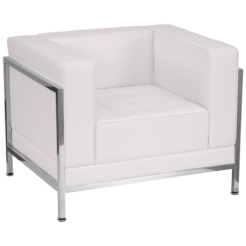 HERCULES Imagination Series Contemporary Melrose White LeatherSoft Chair w/Encasing Frame