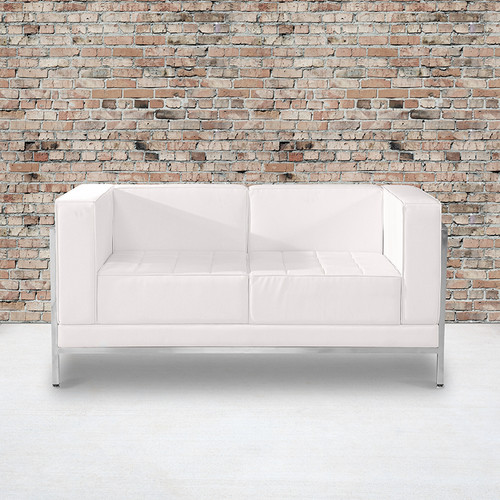 HERCULES Imagination Series Contemporary Melrose White LeatherSoft Loveseat w/Encasing Frame