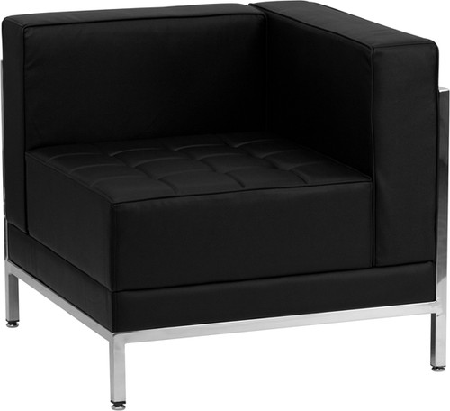 HERCULES Imagination Series Contemporary Black LeatherSoft Right Corner Chair w/Encasing Frame