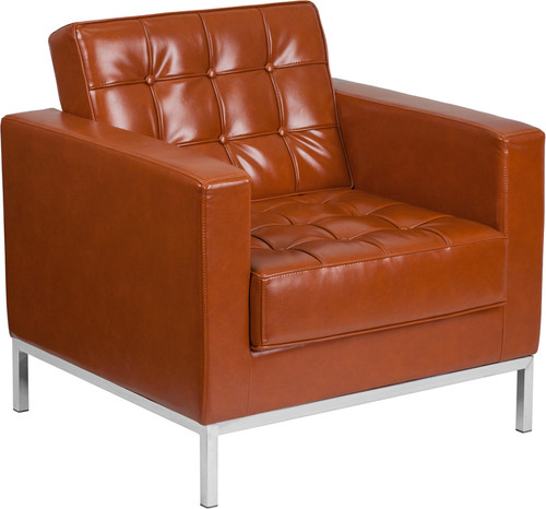HERCULES Lacey Series Contemporary Cognac LeatherSoft Chair w/Stainless Steel Frame