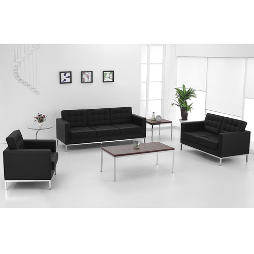 HERCULES Lacey Series Contemporary Black LeatherSoft Loveseat w/Stainless Steel Frame