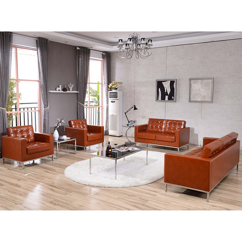 HERCULES Lacey Series Contemporary Cognac LeatherSoft Loveseat w/Stainless Steel Frame
