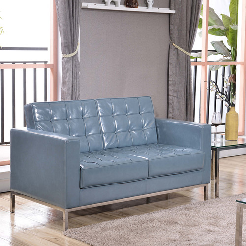 HERCULES Lacey Series Contemporary Gray LeatherSoft Loveseat w/Stainless Steel Frame