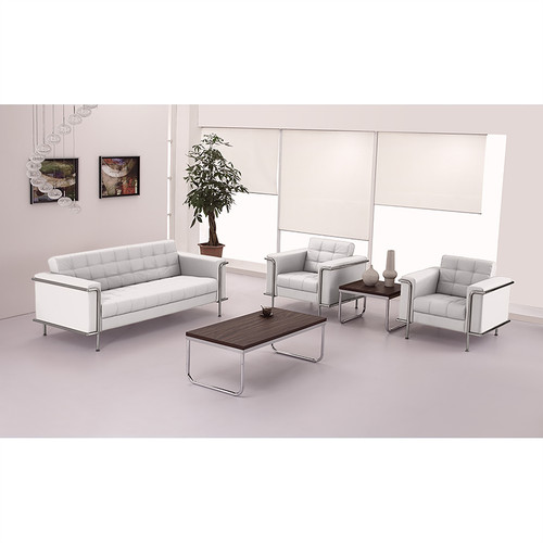 HERCULES Lesley Series Contemporary Melrose White LeatherSoft Chair w/Encasing Frame
