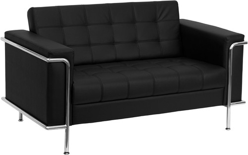 HERCULES Lesley Series Contemporary Black LeatherSoft Loveseat w/Encasing Frame
