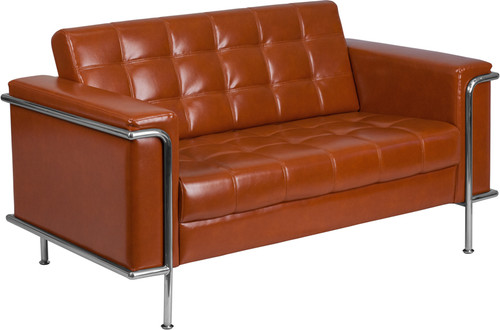 HERCULES Lesley Series Contemporary Cognac LeatherSoft Loveseat w/Encasing Frame