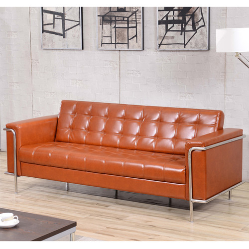 HERCULES Lesley Series Contemporary Cognac LeatherSoft Sofa w/Encasing Frame