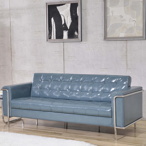 HERCULES Lesley Series Contemporary Gray LeatherSoft Sofa w/Encasing Frame