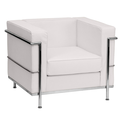 HERCULES Regal Series Contemporary Melrose White LeatherSoft Chair w/Encasing Frame
