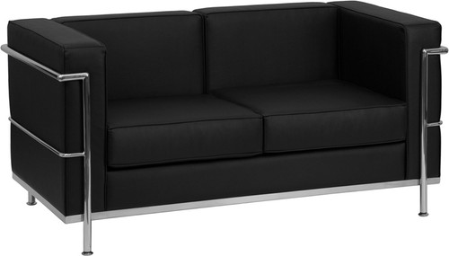 HERCULES Regal Series Contemporary Black LeatherSoft Loveseat w/Encasing Frame