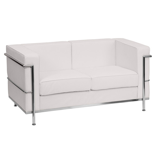 HERCULES Regal Series Contemporary Melrose White LeatherSoft Loveseat w/Encasing Frame