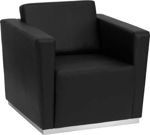 HERCULES Trinity Series Contemporary Black LeatherSoft Chair w/Stainless Steel Base