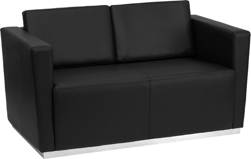 HERCULES Trinity Series Contemporary Black LeatherSoft Loveseat w/Stainless Steel Base