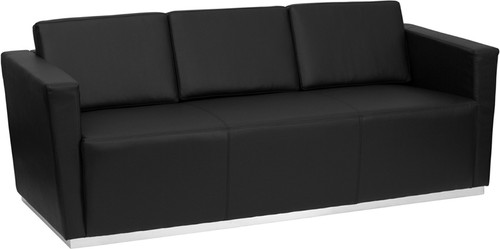 HERCULES Trinity Series Contemporary Black LeatherSoft Sofa w/Stainless Steel Base