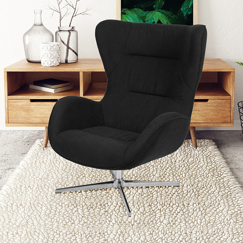 Black Fabric Swivel Wing Chair