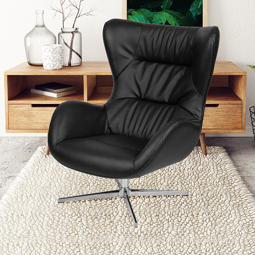 Black LeatherSoft Swivel Wing Chair