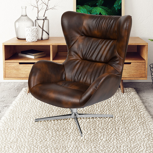 Bomber Jacket LeatherSoft Swivel Wing Chair