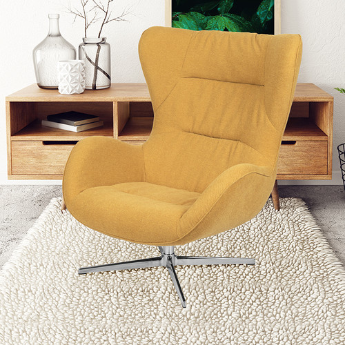 Citron Fabric Swivel Wing Chair