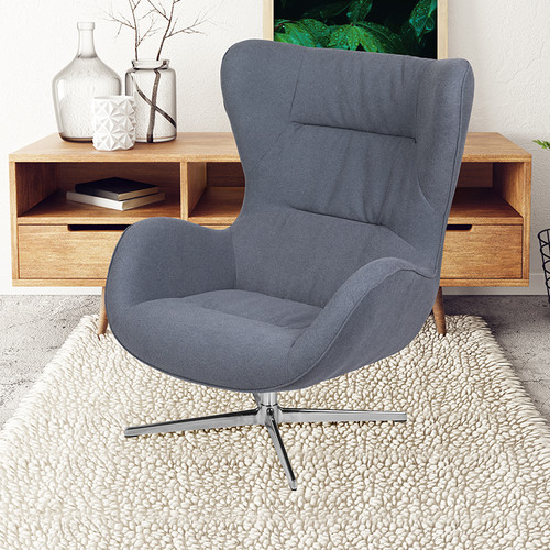 Gray Fabric Swivel Wing Chair