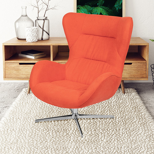 Orange Fabric Swivel Wing Chair