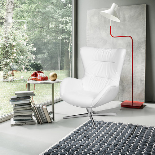 White LeatherSoft Swivel Wing Chair