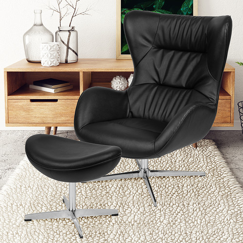Black LeatherSoft Swivel Wing Chair & Ottoman Set