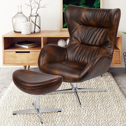 Bomber Jacket LeatherSoft Swivel Wing Chair & Ottoman Set