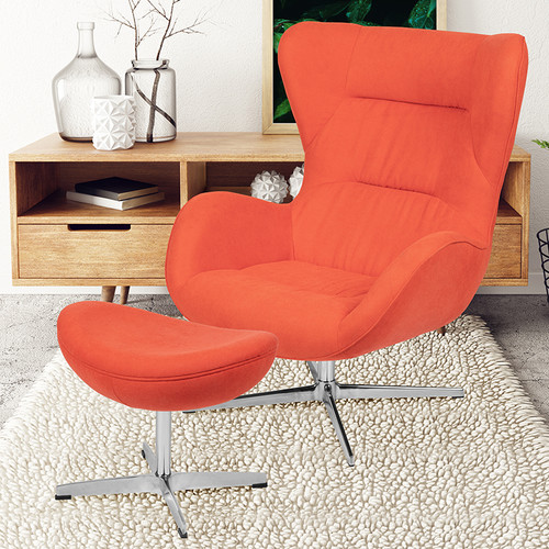 Orange Fabric Swivel Wing Chair & Ottoman Set