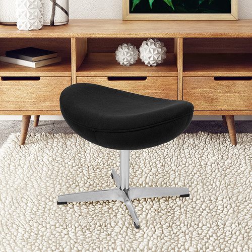 Black Fabric Saddle Wing Ottoman