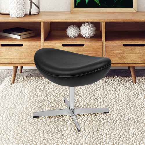 Black LeatherSoft Saddle Wing Ottoman