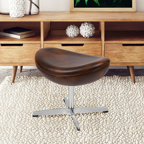 Bomber Jacket LeatherSoft Saddle Wing Ottoman