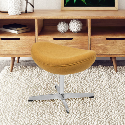 Citron Fabric Saddle Wing Ottoman