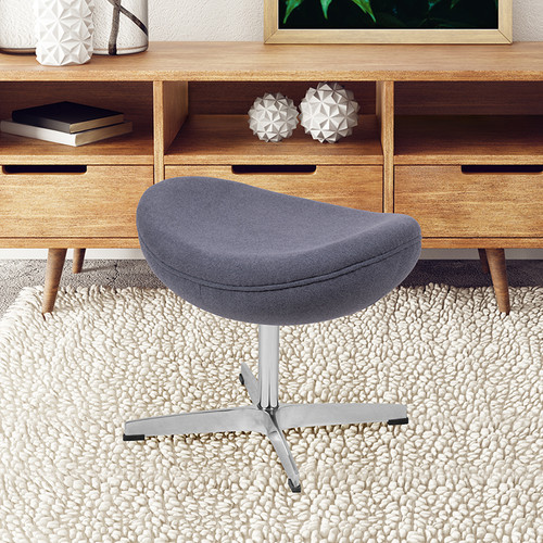 Gray Fabric Saddle Wing Ottoman
