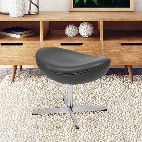 Gray LeatherSoft Saddle Wing Ottoman