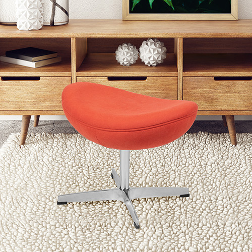 Orange Fabric Saddle Wing Ottoman