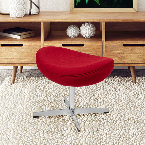 Red Fabric Saddle Wing Ottoman