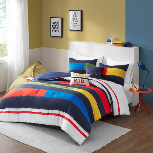 Red Green & Yellow Colorful Comforter Set & Decorative Pillows (Morris-Multi-Comforter)