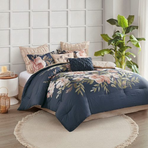 8pc Navy Blue & Pink Blush Floral Comforter Set AND Decorative Pillows (Camillia-Navy)