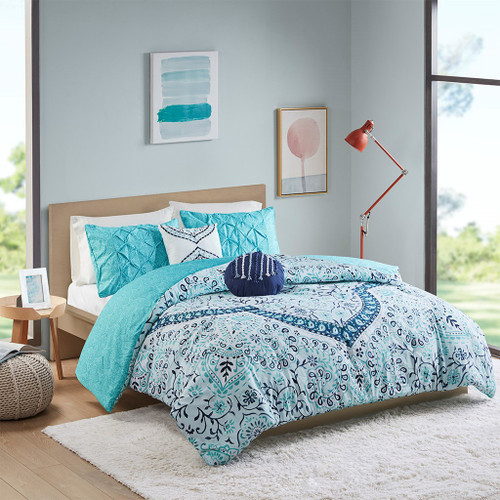 Aqua Blue Boho Medallion Style Comforter Set & Decorative Pillows (Natalia-Aqua-Comforter)