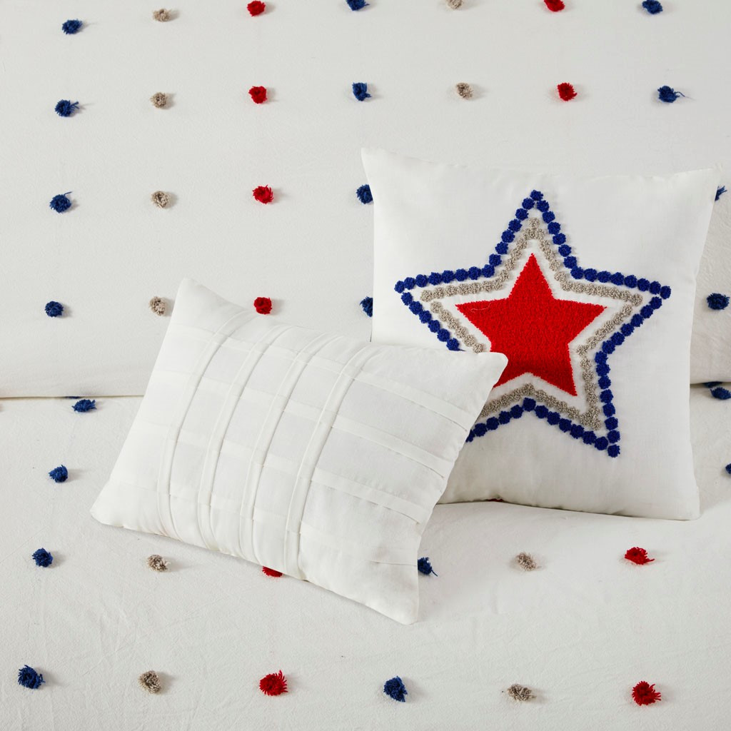 Navy Blue & Red Pom Poms & Star Cotton Comforter Set AND Decorative Pillows (Callie-Navy/Red-Comf)