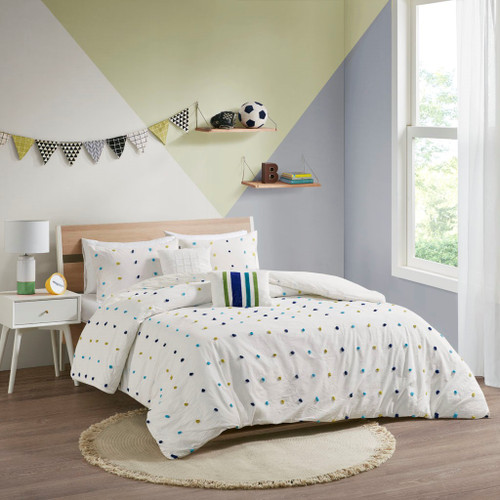 Green & Navy Stripes & Pom Poms Cotton Comforter Set AND Decorative Pillows (Callie-Green/Navy-Comf)