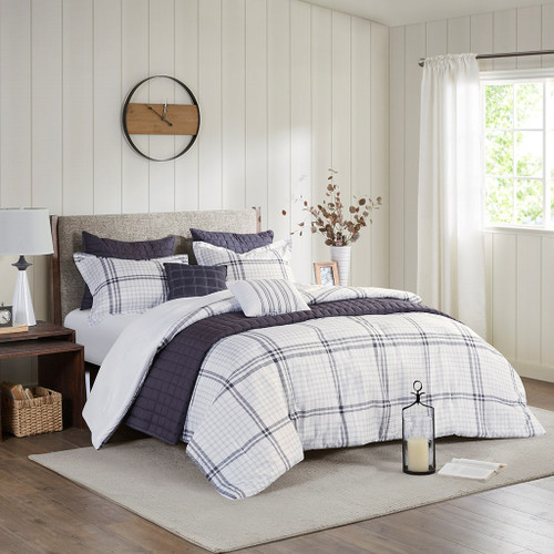 8pc Deep Grey & White Seersucker Farmhouse Comforter AND Coverlet w/Decorative Pillows (Fillmore-Grey-Comf)