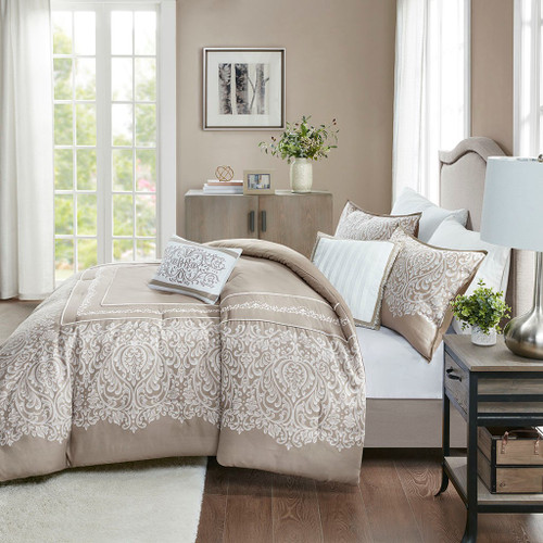 5pc Taupe & White Embroidered Comforter AND Decorative Pillows