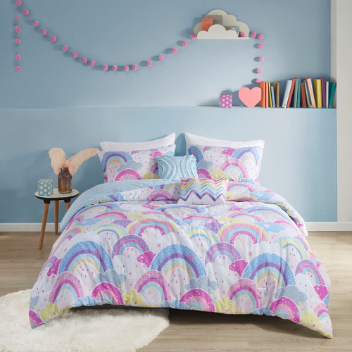 Colorful Rainbow Cotton Reversible Comforter Set & Decorative Pillows (Emily-Multi-Comforter)