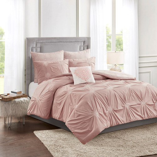 6pc Blush Pink Embroidered Cotton Reversible Comforter Set AND Decorative Pillow (Malia-Blush)